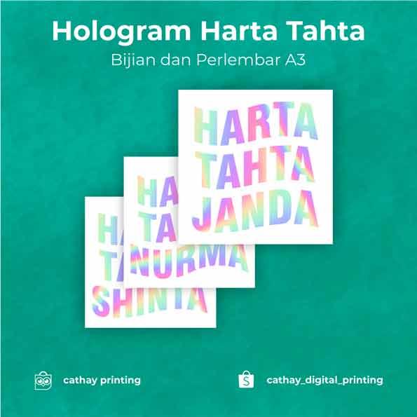 Stiker Hologram Harta Tahta